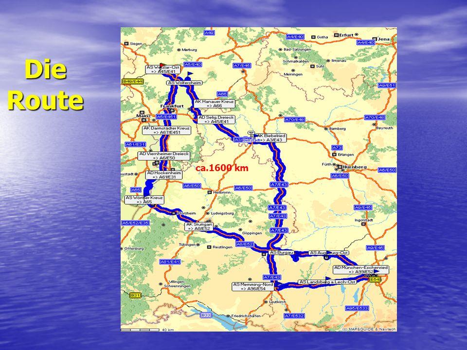 Die Route ca.1600 km