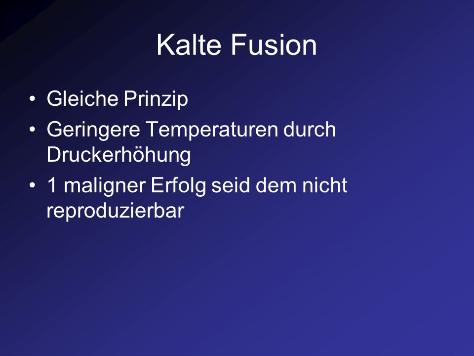 Kalte Fusion Gleiche Prinzip