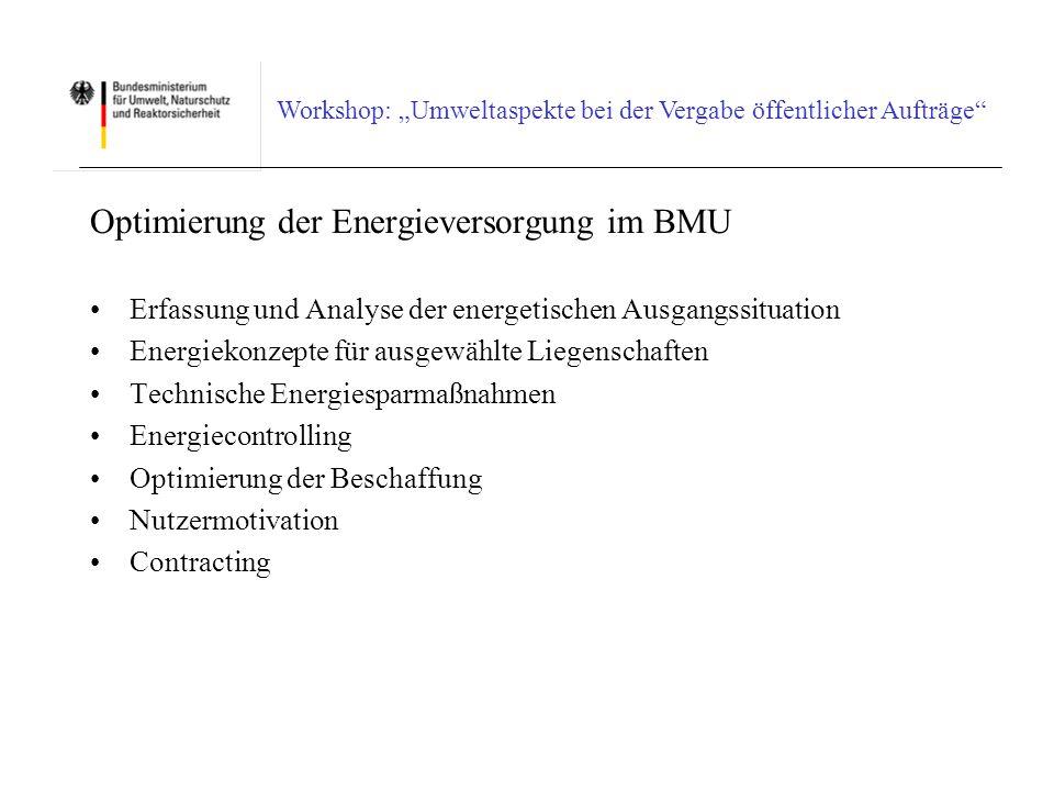Optimierung der Energieversorgung im BMU