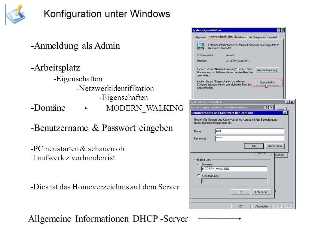 -Domäne MODERN_WALKING -Benutzername & Passwort eingeben