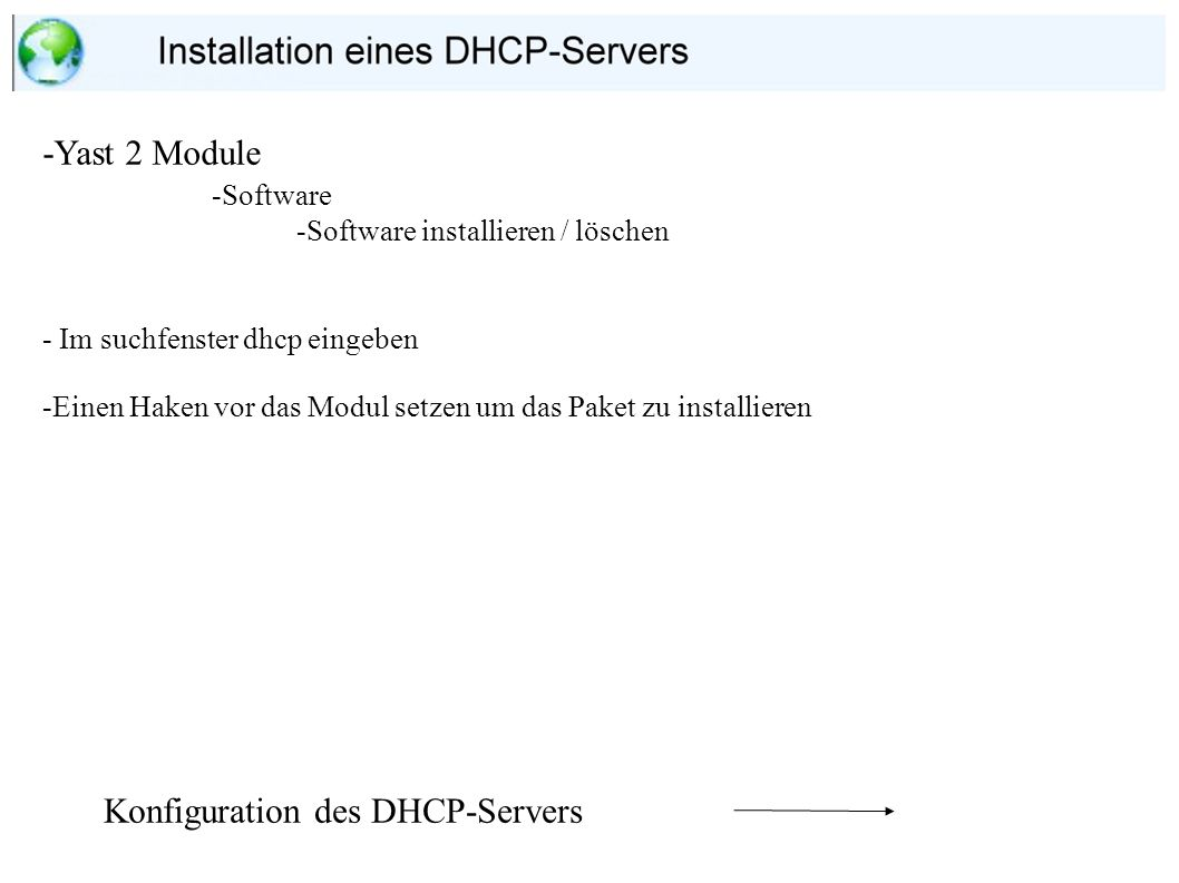 Konfiguration des DHCP-Servers