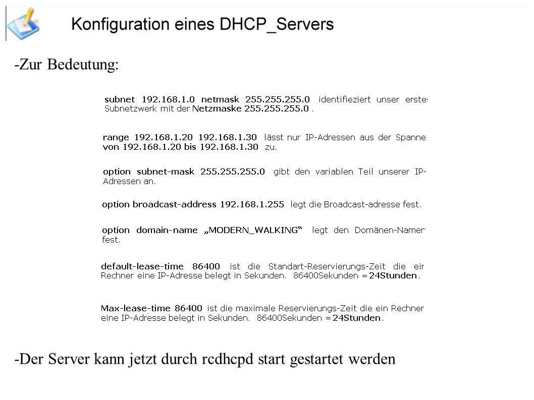 -Zur Bedeutung: -Der Server kann jetzt durch rcdhcpd start gestartet werden
