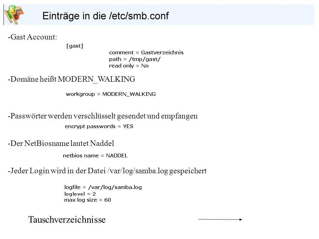 Tauschverzeichnisse -Gast Account: -Domäne heißt MODERN_WALKING