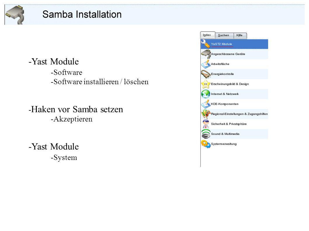 -Yast Module -Software -System -Software installieren / löschen