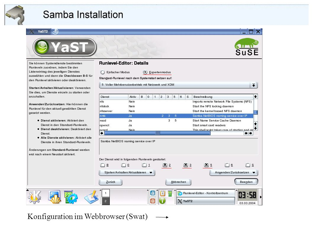 Konfiguration im Webbrowser (Swat)