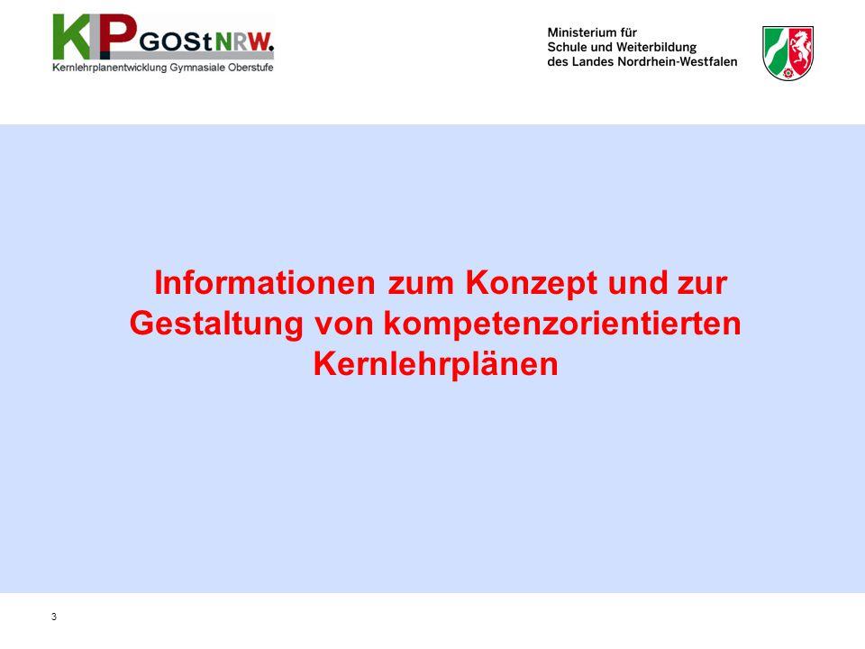 Informationen zum Konzept und zur Gestaltung von kompetenzorientierten Kernlehrplänen