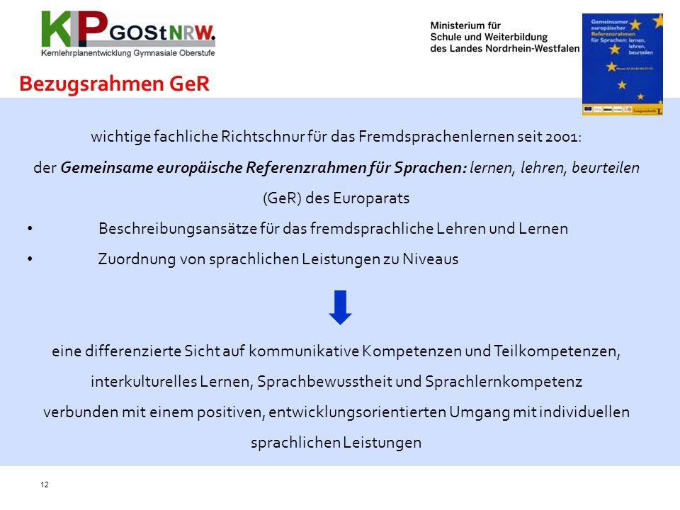 wichtige fachliche Richtschnur für das Fremdsprachenlernen seit 2001:
