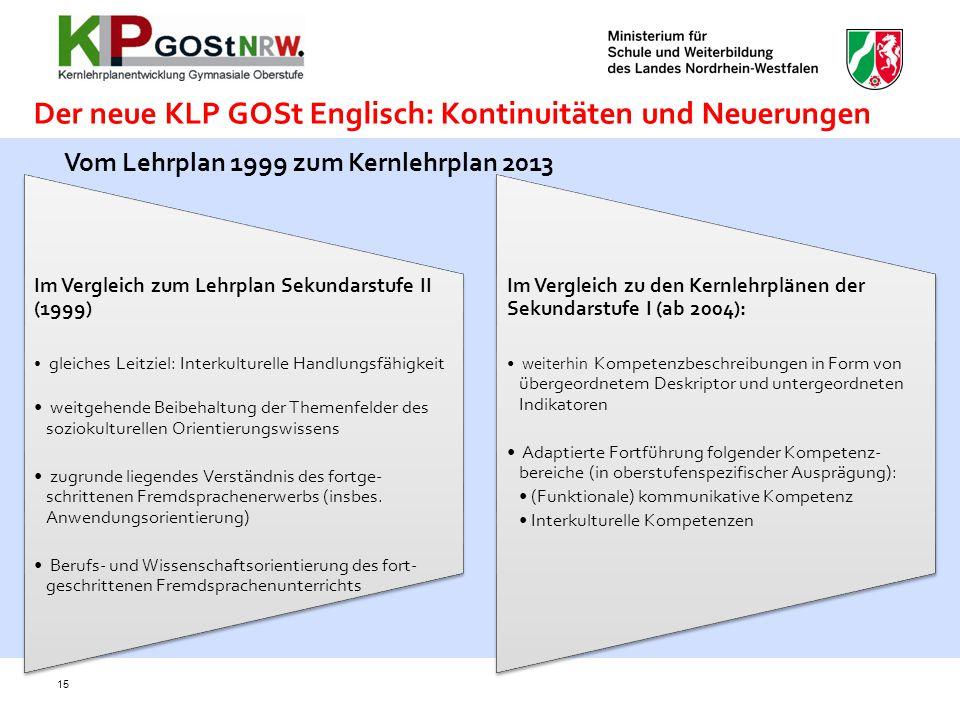 Der neue KLP GOSt Englisch: Kontinuitäten und Neuerungen