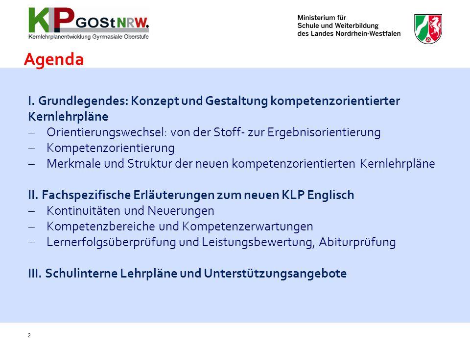 Agenda I. Grundlegendes: Konzept und Gestaltung kompetenzorientierter Kernlehrpläne. Orientierungswechsel: von der Stoff- zur Ergebnisorientierung.