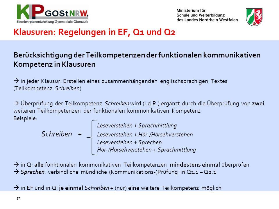 Klausuren: Regelungen in EF, Q1 und Q2