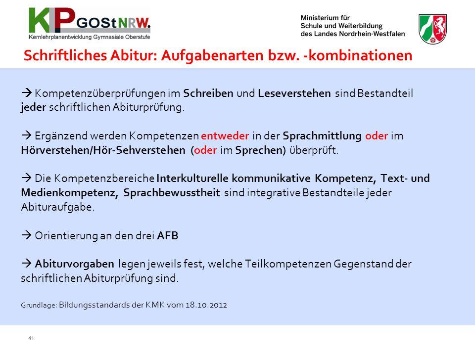 Schriftliches Abitur: Aufgabenarten bzw. -kombinationen
