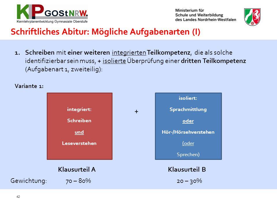 Schriftliches Abitur: Mögliche Aufgabenarten (I)