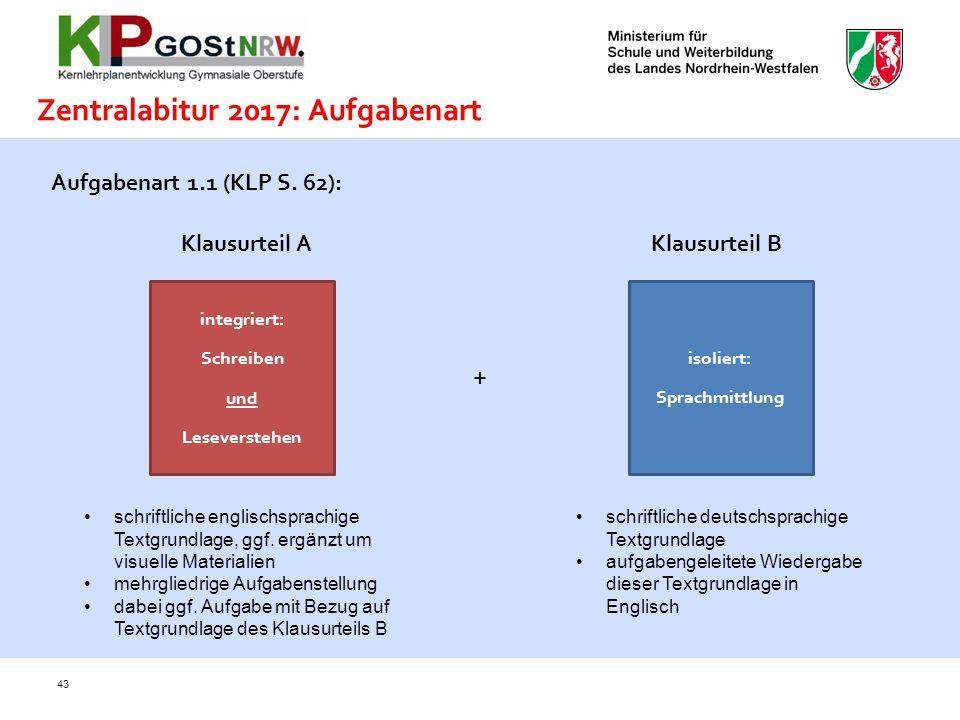 Zentralabitur 2017: Aufgabenart