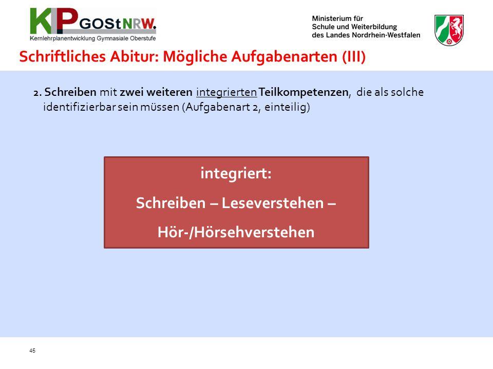 Schriftliches Abitur: Mögliche Aufgabenarten (III)