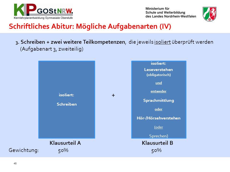 Schriftliches Abitur: Mögliche Aufgabenarten (IV)