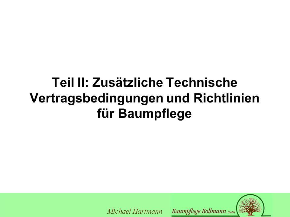 Teil II: Zusätzliche Technische Vertragsbedingungen und Richtlinien für Baumpflege