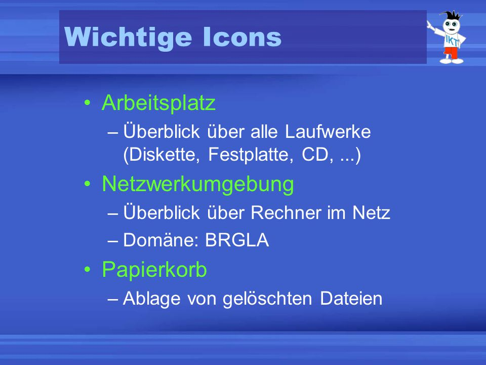 Wichtige Icons Arbeitsplatz Netzwerkumgebung Papierkorb