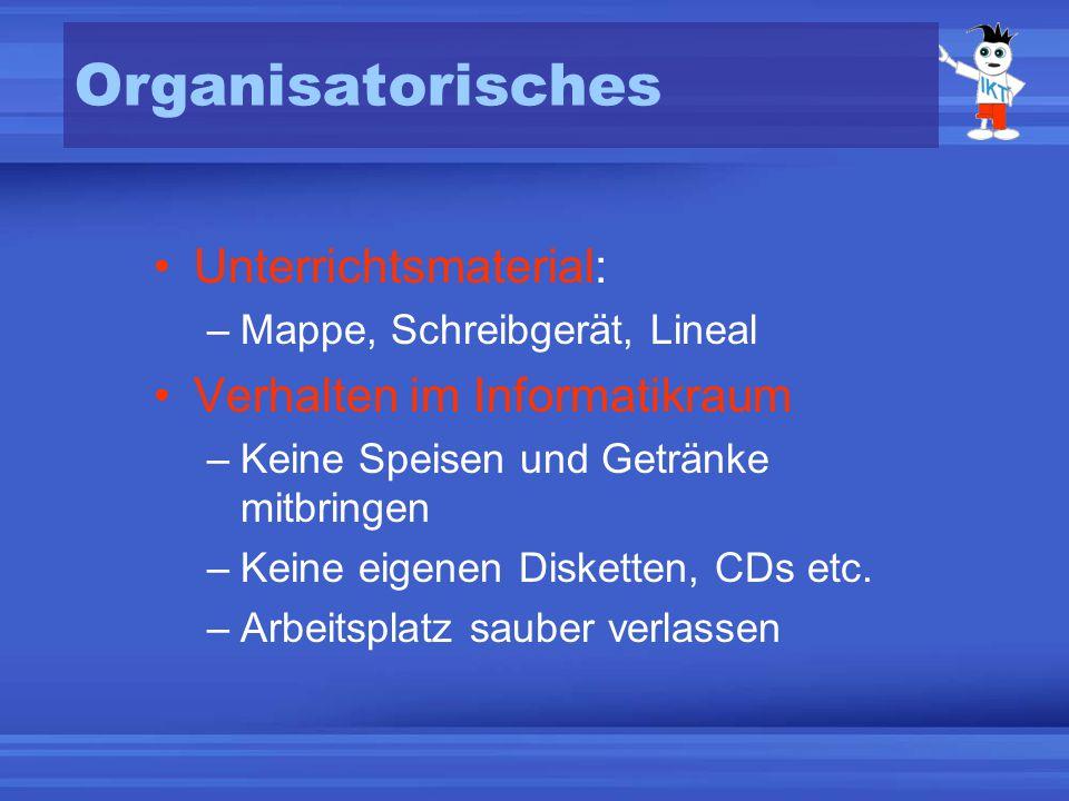Organisatorisches Unterrichtsmaterial: Verhalten im Informatikraum