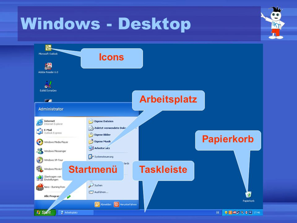 Windows - Desktop Icons Arbeitsplatz Papierkorb Startmenü Taskleiste