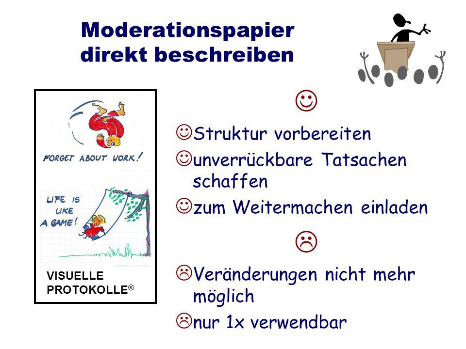 Moderationspapier direkt beschreiben