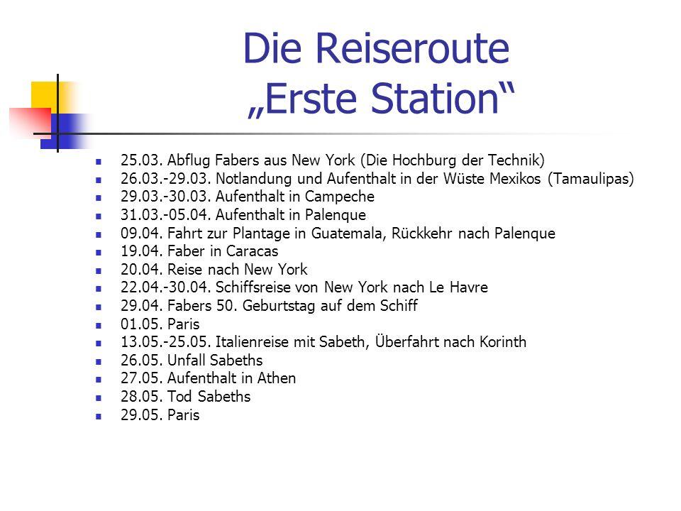 """Die Reiseroute """"Erste Station"""