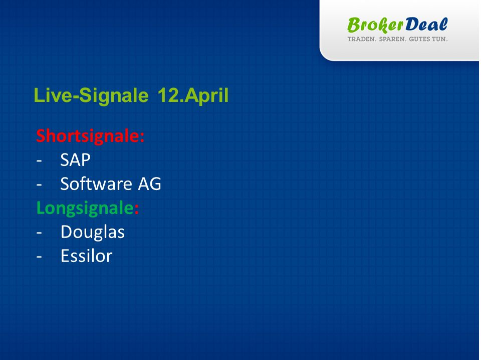 Live-Signale 12.April Shortsignale: SAP Software AG Longsignale: Douglas Essilor