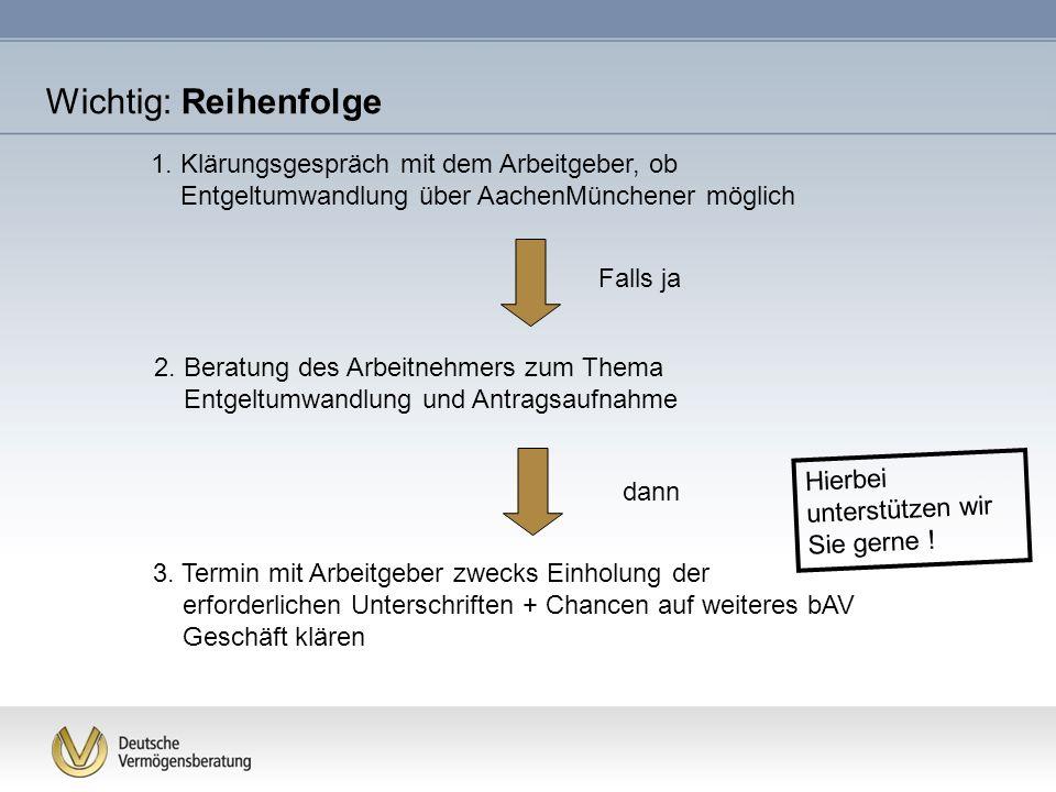 Wichtig: Reihenfolge 1. Klärungsgespräch mit dem Arbeitgeber, ob Entgeltumwandlung über AachenMünchener möglich.