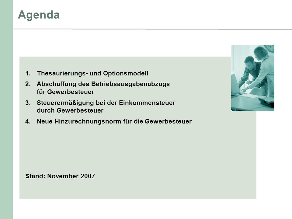 Agenda Thesaurierungs- und Optionsmodell