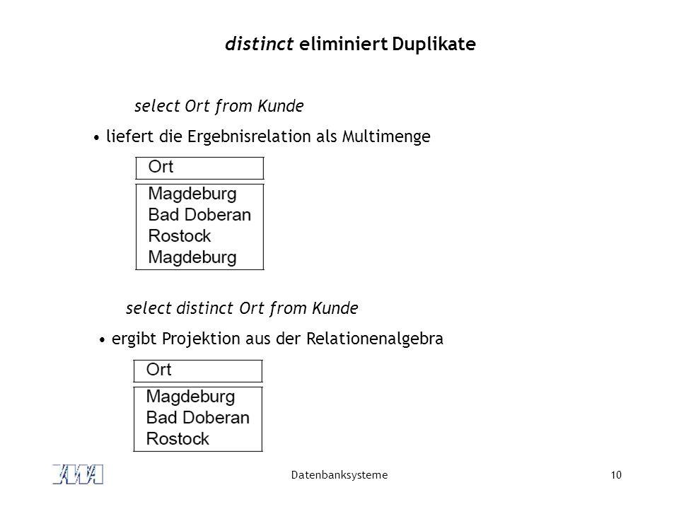 distinct eliminiert Duplikate