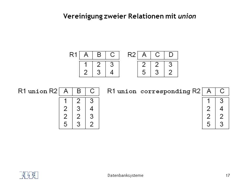 Vereinigung zweier Relationen mit union
