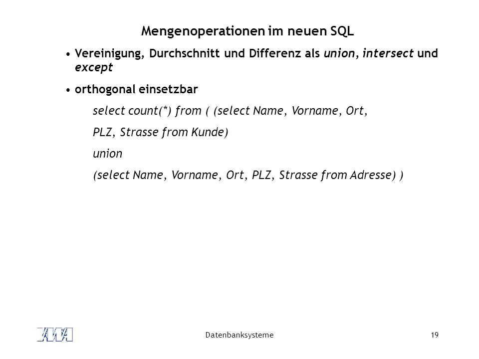 Mengenoperationen im neuen SQL