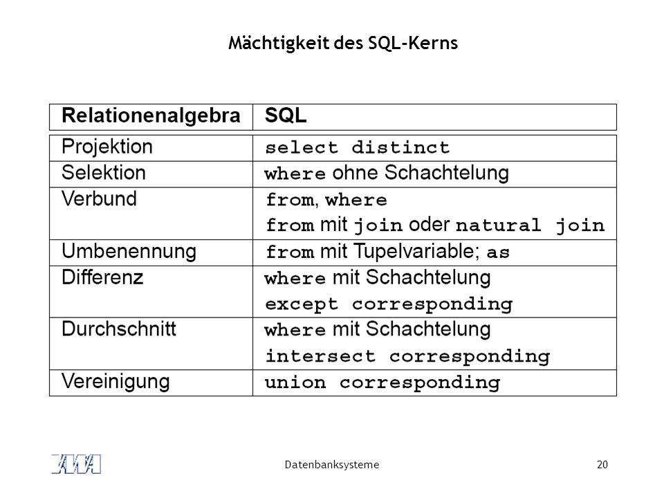 Mächtigkeit des SQL-Kerns