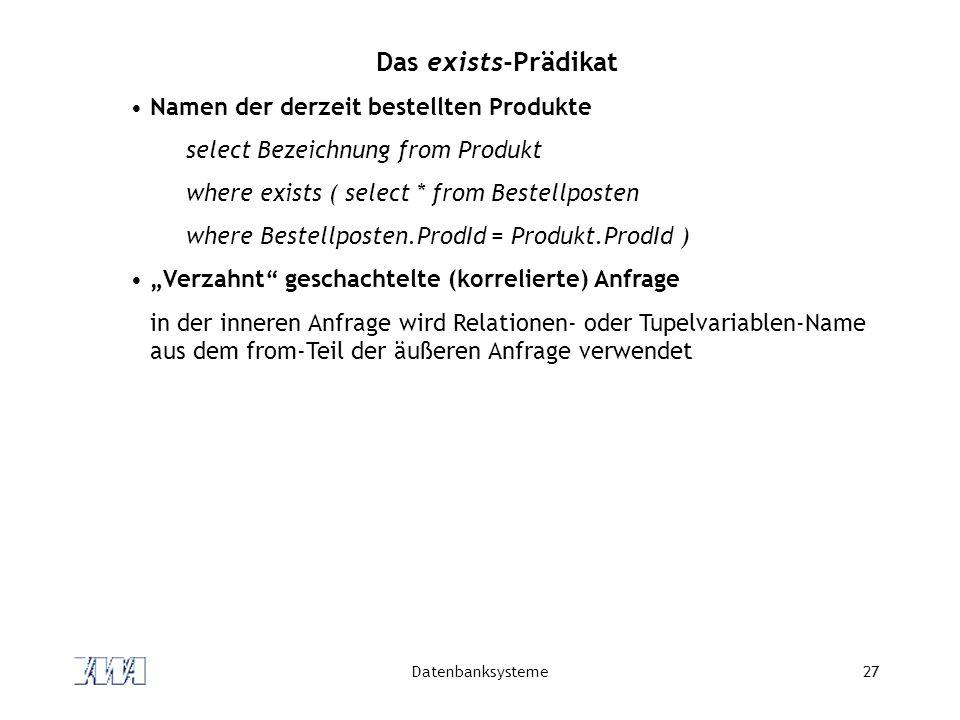 Das exists-Prädikat Namen der derzeit bestellten Produkte