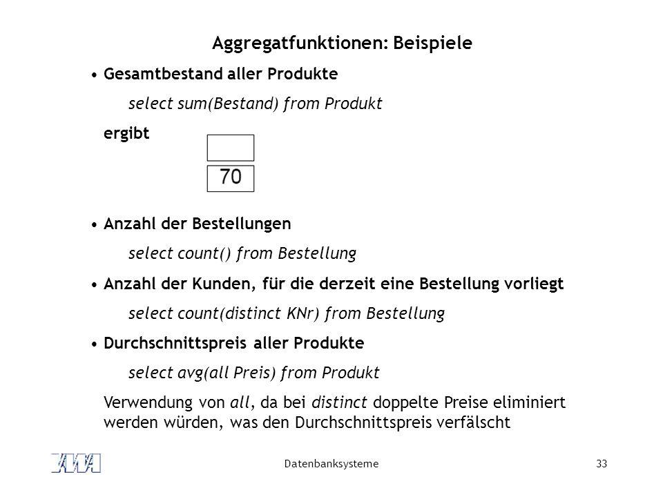 Aggregatfunktionen: Beispiele