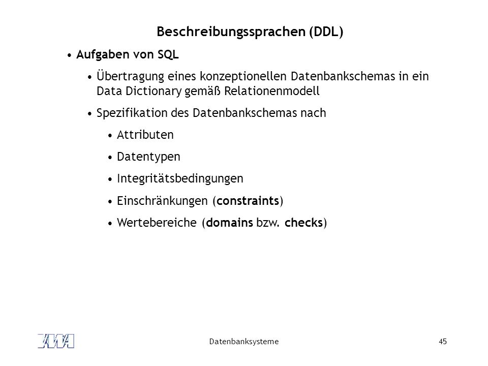 Beschreibungssprachen (DDL)