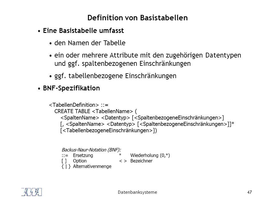 Definition von Basistabellen
