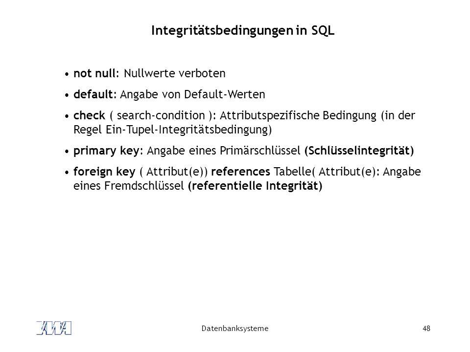 Integritätsbedingungen in SQL