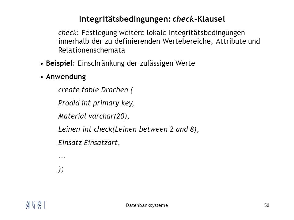 Integritätsbedingungen: check-Klausel