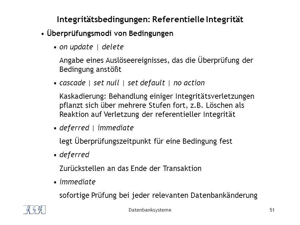 Integritätsbedingungen: Referentielle Integrität