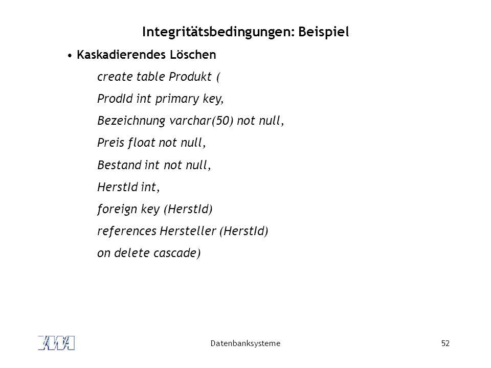 Integritätsbedingungen: Beispiel