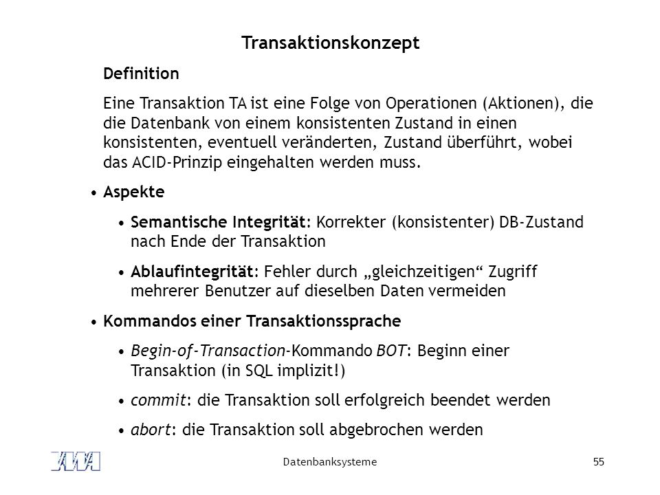 Transaktionskonzept Definition