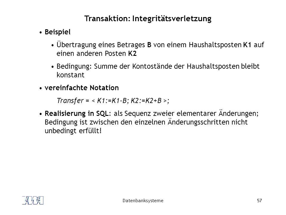 Transaktion: Integritätsverletzung