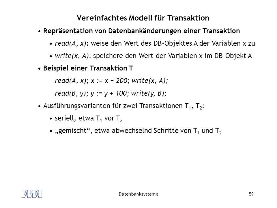 Vereinfachtes Modell für Transaktion