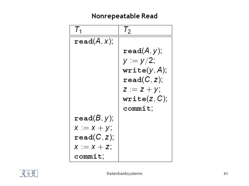 Nonrepeatable Read Datenbanksysteme
