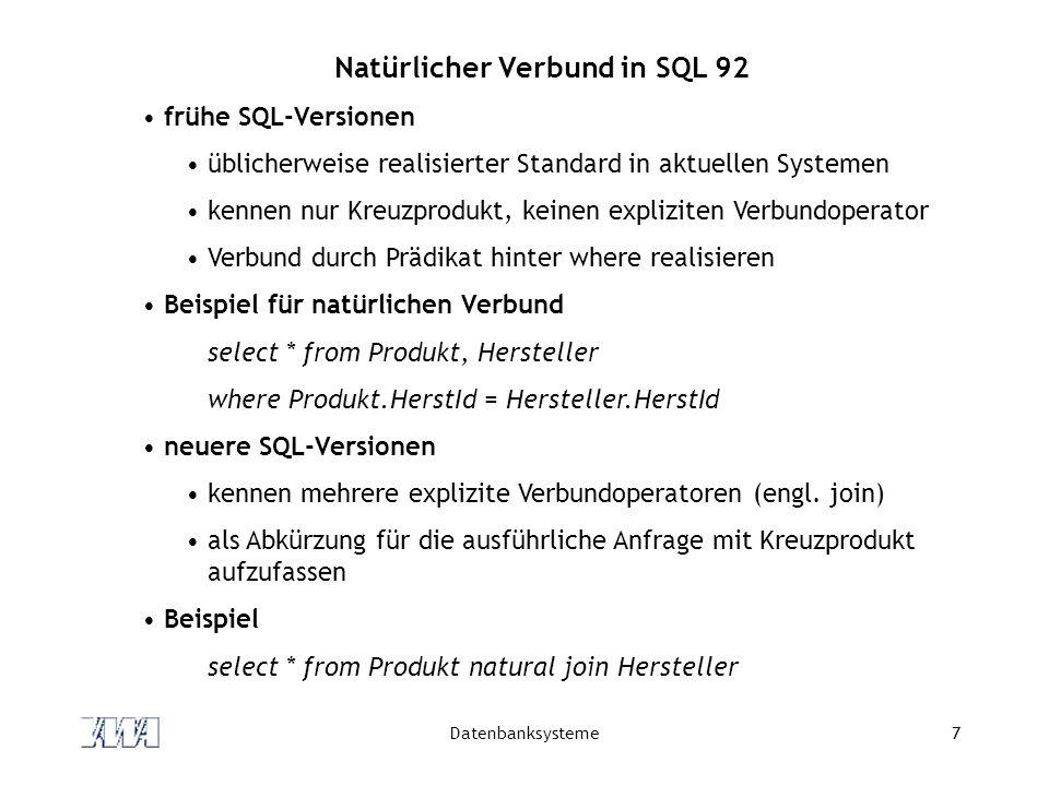 Natürlicher Verbund in SQL 92
