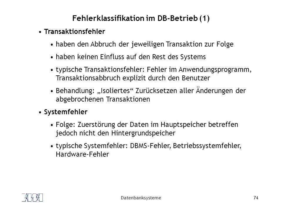 Fehlerklassifikation im DB-Betrieb (1)