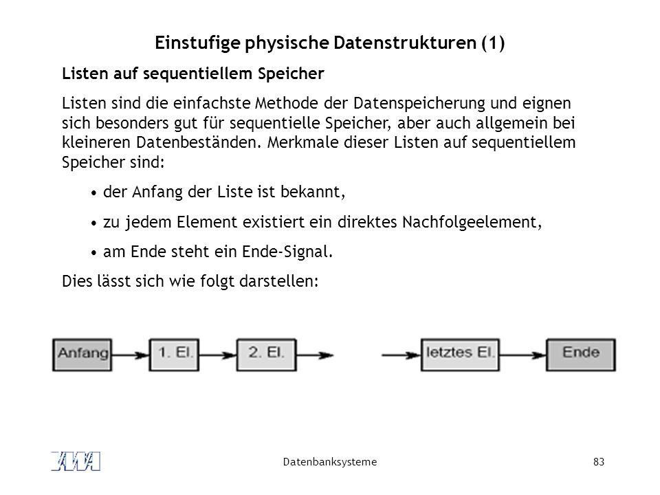Einstufige physische Datenstrukturen (1)