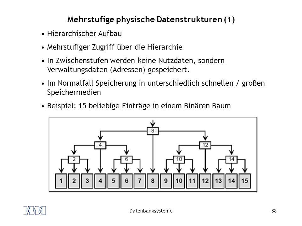 Mehrstufige physische Datenstrukturen (1)