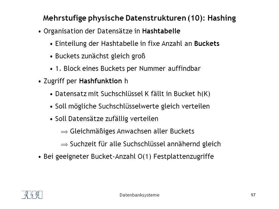 Mehrstufige physische Datenstrukturen (10): Hashing