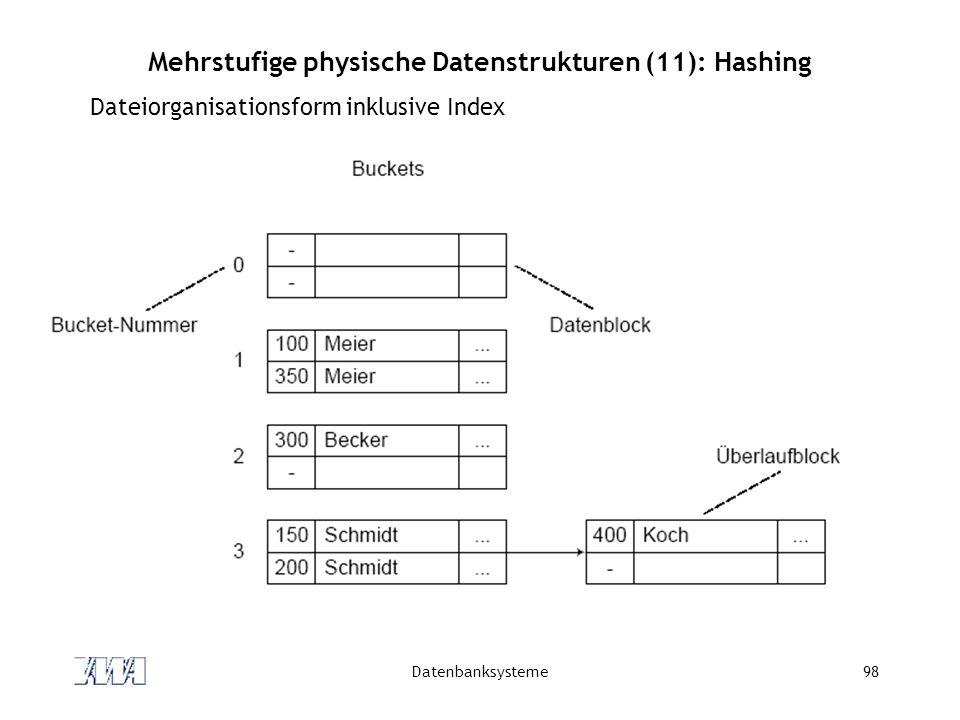 Mehrstufige physische Datenstrukturen (11): Hashing